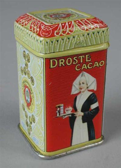 """Warme melk, beetje suiker, schepje Cacao en kloppen maar....De Droste fabriek was bij ons om de hoek, dus kon je elke dag van de chocoladegeur genieten....•°•°Miniatuur """"Droste"""" cacaoblikje met verpleegster en koninklijk wapen op zijkant, smal en hoog model met losse deksel"""