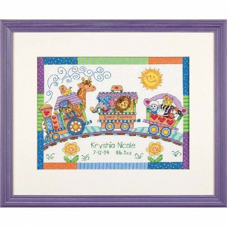 Counted Cross Stitch Kit - Birth Record - Baby Express / Train