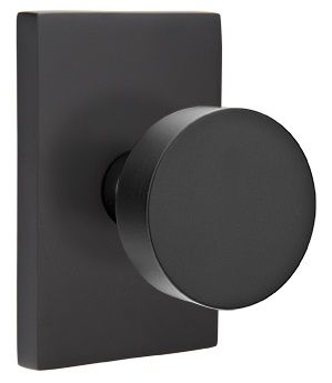 Emtek Round Modern Door Knob with Modern Rectangular Rosette