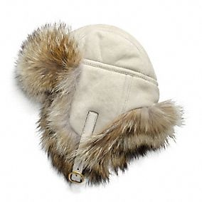 SHEARLING TRAPPER WITH FUR TRIM