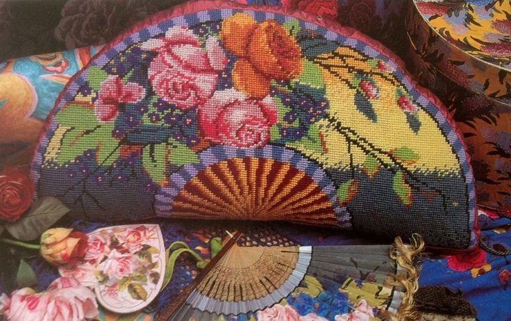 Ehrman Designer KAFFE FASSETT tapestry needlepoint chart only FLOWER FAN CUSHION