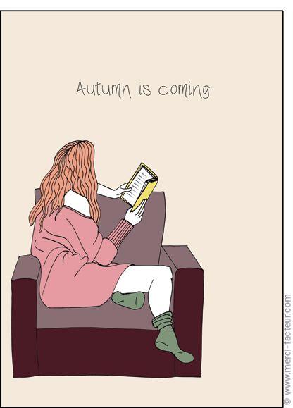 #carte #illustration #couleur #autumn #leaves #color #plantes #café #cards #snail #autumn #plants #leaves #mushroom #coffee Carte Autumn is coming pour envoyer par La Poste, sur Merci-Facteur !