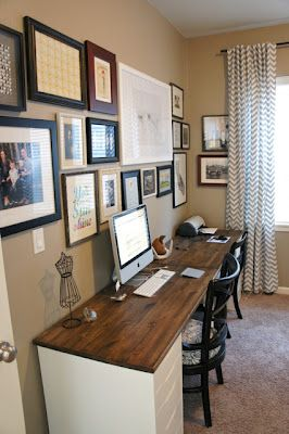 Pretty Dubs: Desk idea - two filing cabinets and a piece of wood? Hmmm?