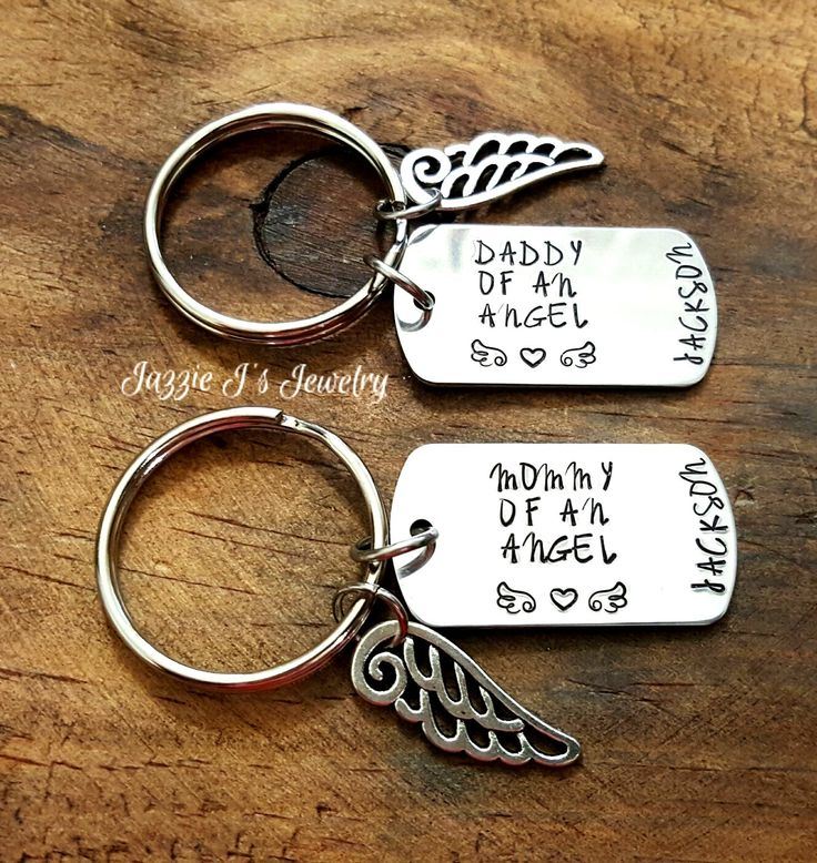 Mommy & Daddy To An Angel Keychain, Remembrance Keychain, Memorial Keychain, Infant Loss Keychain, Hand Stamped Memory Keychain, Miscarriage by JazzieJsJewelry on Etsy