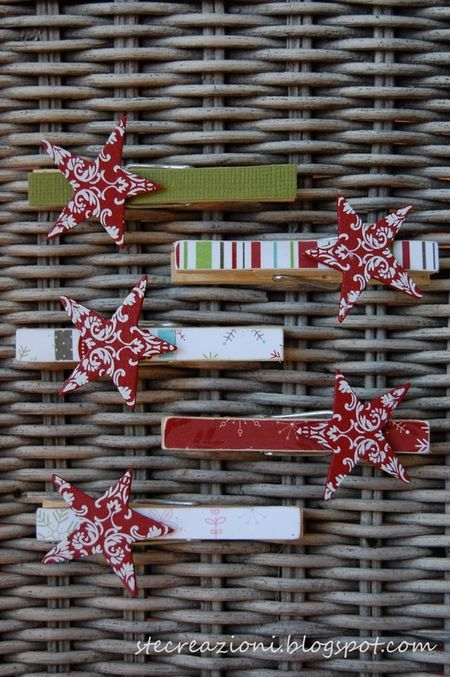 Make these cute star clothespins and put on the top of a paper bag folded down (to keep it closed) with goodies in it for the holidays.: Christmas Cards, Paper Crafts Christmas, Goodies Bags, Holding Cards, Gift Ideas, Paper Bags, Bags Folding, Stars Clothespins, Clothing Pin