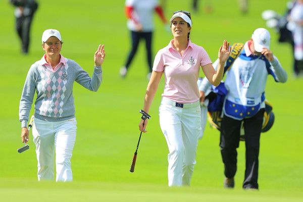 Sandra Gal Photos Photos - Catriona Matthew (L) and Sandra Gal (R) of the European Team walk to 16th hole during the morning foursomes matches  in the 2015 Solheim Cup match at St Leon-Rot Golf Club on September 19, 2015 in Sankt Leon-Rot, Germany. - The Solheim Cup - Day Two