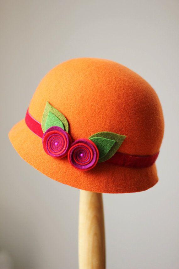 Orange Winter Hat for Girls, Custom Made Fashion Hats, Toddler Girls Cloche Hats, Little Girls Formal Hat, Girls Dress hat, Girls Fancy Hats
