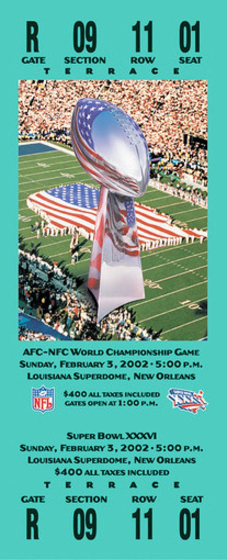 Played on February 3, 2002 at the Louisiana Superdome in New Orleans, Louisiana. The MVP of the game was Patriots QB Tom Brady. The average ticket cost for the game was $400.00.