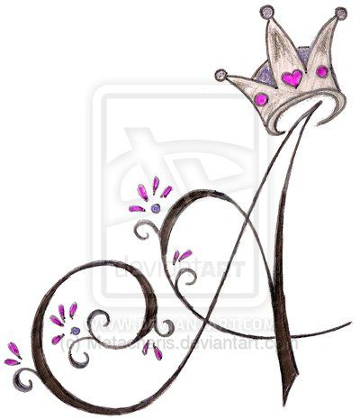 A Initial with Princess Crown Tattoo by Metacharis.deviantart.com on @deviantART