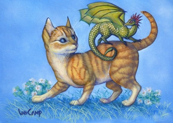 Hitchhiker 8x10 Whimsical Cat And Dragon Art By By