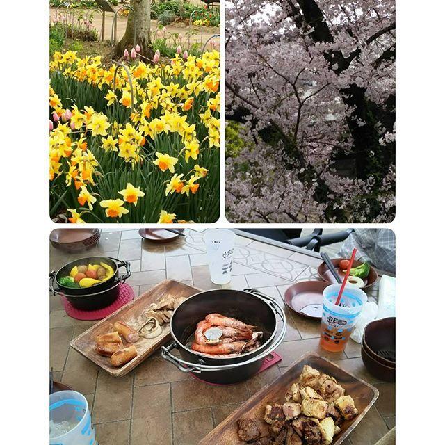 . 会社の同僚と花見がてらBBQちょっと寒かったけど、アウトドアを満喫 . #バーベキュー #手ぶら #花見 #桜 #ダッチオーブン #ランチ #肉 #グリル #調布フローラルガーデン #アウトドア #調布 #花 #bbq #bbqvillage #lunch #meet #cherryblossomviewing #cherryblossom #outdoor #flower #grill #tokyo
