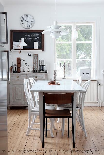 black, white and brown kitchen