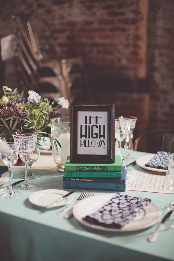 This is also from the wedding that we catered. The couple worked with coordinator Melissa McNeeley; there were so many thoughtful details on the tables. We particularly loved the sheet music running down the middle of the table. Rentals wore provided by by Broadway Party Rental and Patina Vintage Rentals. Photo by Chris Spira.