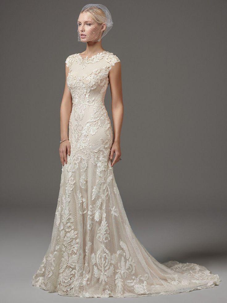 666 best short sleeve trumpet images on pinterest for Maggie sottero short wedding dress