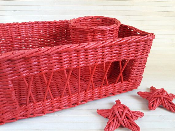 SALE  Bathroom organizer decor organization Set of two Wicker storage red baskets Summer party