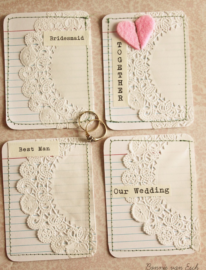 4 Wedding themed Journal cards. $3.00, via Etsy.
