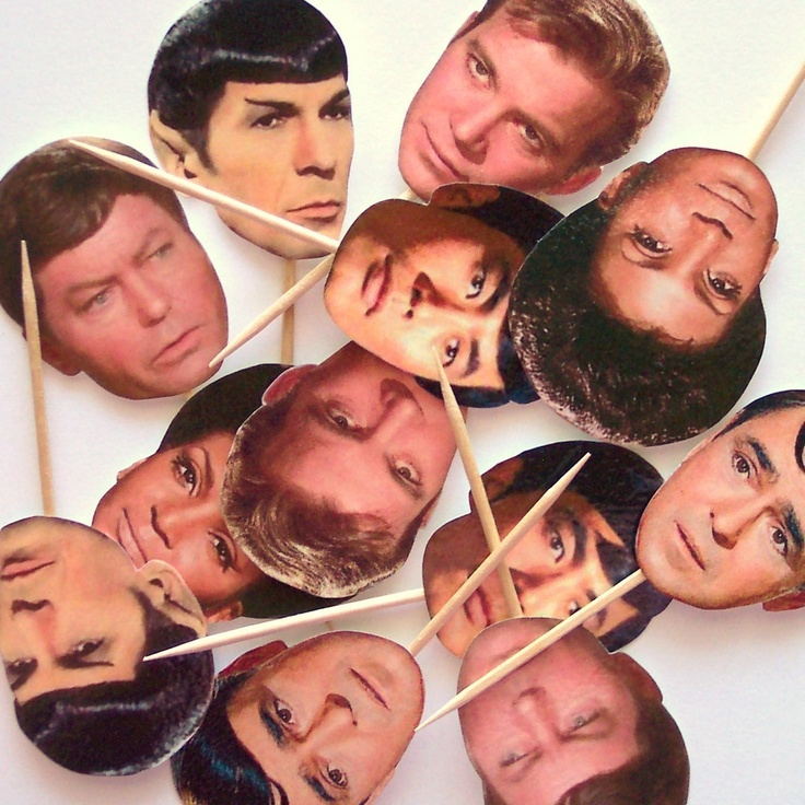 Star Trek Cupcake Toppers Set of 12 Picks by TheBlissfulBaker