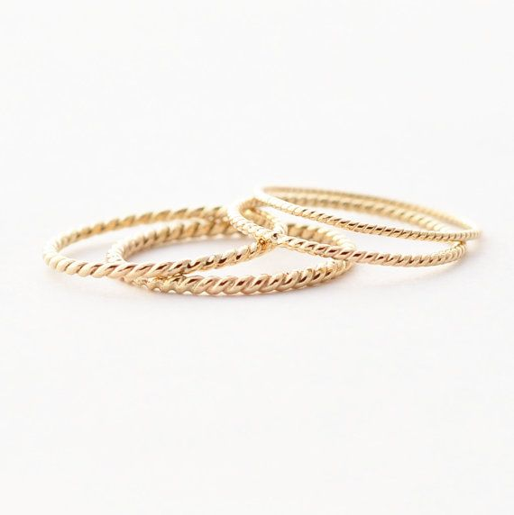 Twisted Wedding Band Solid 14k Yellow Gold Ring