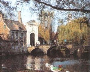 Pemandangan yang cantik di kota Brugge