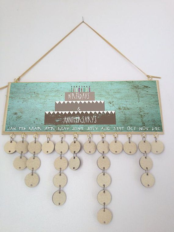 wooden hanging birthday calender by madeindevonwithlove on Etsy, £24.99