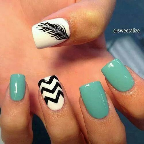 249 best nails images on pinterest cute nails nail scissors and feather blue black and white nail art design maybe different color and not chevron prinsesfo Choice Image