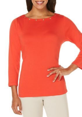 Rafaella Women's Petite Solid 3/4 Boat Neck Top - Hot Pepper - Xsmall Petite