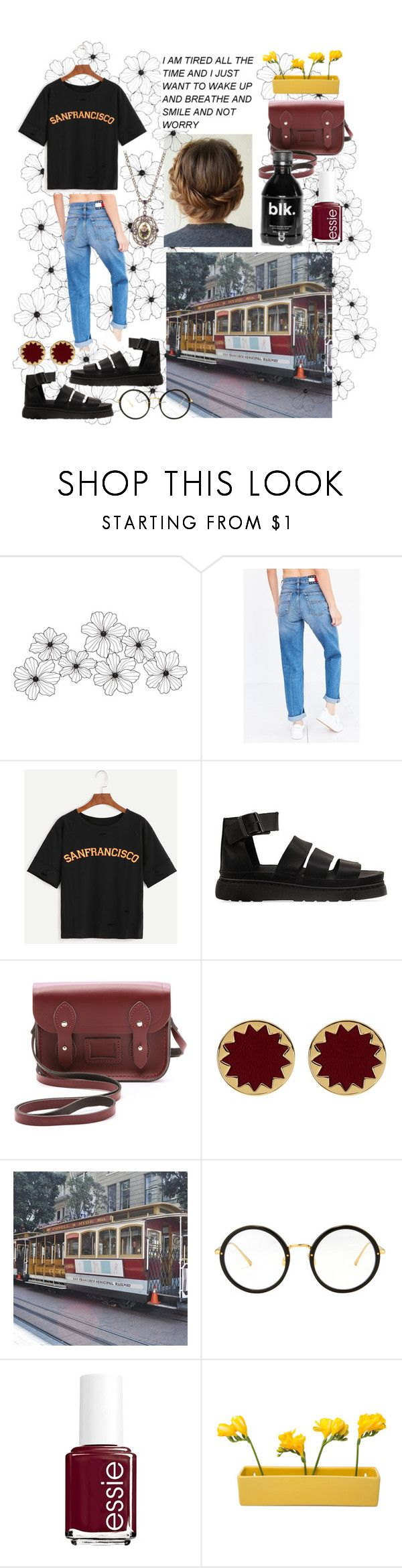 """San Francisco"" by ash-lyy ❤ liked on Polyvore featuring WALL, Tommy Hilfiger, Dr. Martens, The Cambridge Satchel Company, House of Harlow 1960, Linda Farrow, Essie, Identity, Dot & Bo and 1928"