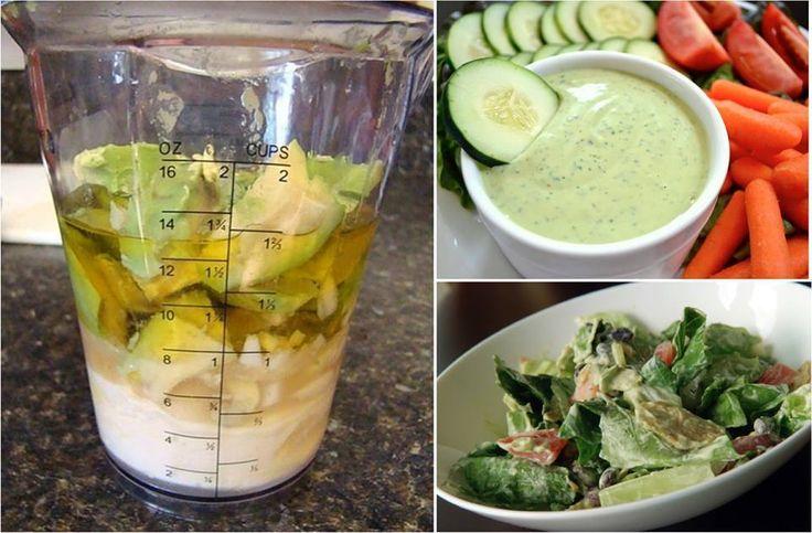 """""""Aderezo de Aguacate (palta)""""  Sustituye el aderezo Ranch cargado de calorías por un delicioso y saludable Aderezo de Aguacate.  Sólo necesitarás: - 3 cdras de Aceite oliva - 1 Aguacate Grande en cubitos - 2 cucharadas de Jugo de limón fresco - 1/2 Taza de Yogur natural o griego - 2 dientes de Ajo - 1 cucharada de Salsa Picante (opcional) - Sal y pimienta al gusto Licúa hasta obtener la consistencia deseada..."""
