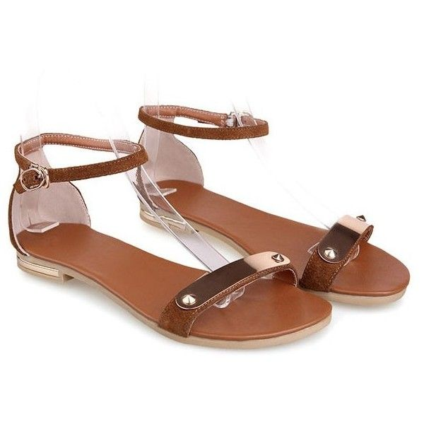 LUCLUC Brown Matte Metallic Leather Fish Head Sandals ($53) ❤ liked on Polyvore featuring shoes, sandals, brown colour shoes, brown sandals, brown leather sandals, fish sandals and leather shoes