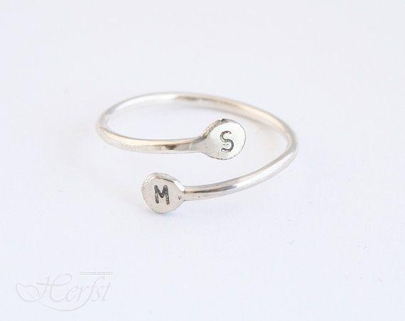 Initial Ring Sterling silver Hand stamped by GoudsmederijHerfst, €12.00