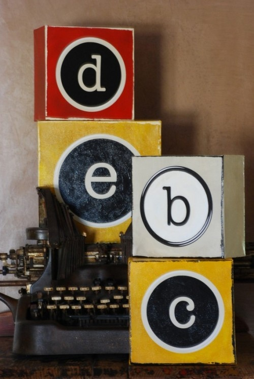 drawn to these letters .. hand painted typewriter-looking initials on canvas .. $40 at etsy.com