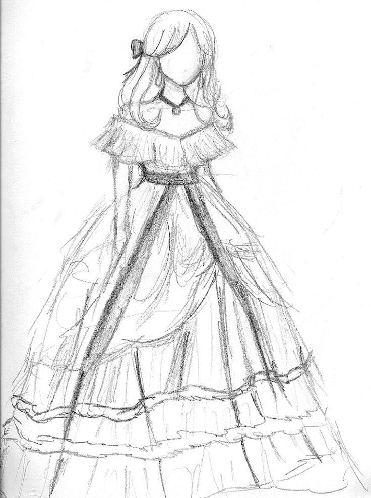 Девушки в бальном платье рисунок