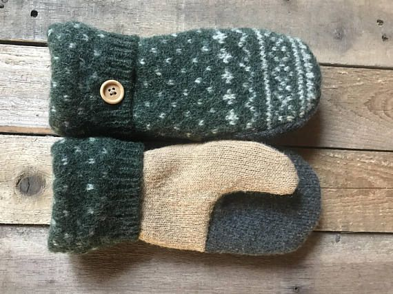 Wool Felted Sweater Mittens/Hunter Green and Tan Color Mittens/Fleece Lined/Handmade Mittens/Women and Teen Mittens