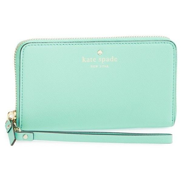 kate spade new york 'cedar street - jordie' zip around leather wallet featuring polyvore women's fashion bags wallets fresh air leather wristlet wallet genuine leather wallet leather wallet leather wristlet credit card holder wallet