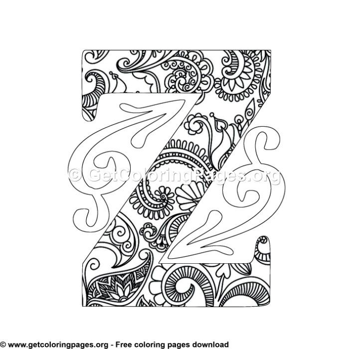 Zentangle Monogram Alphabet Letter Z Coloring Sheet Coloring Letters Owl Coloring Pages Flower Coloring Pages