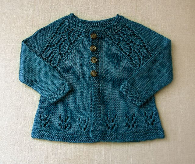 "very cute baby sweater. Pattern is Maile Sweater, a free pattern by Nikki Van De Car available on her blog ""What To Knit When You're Expecting."""