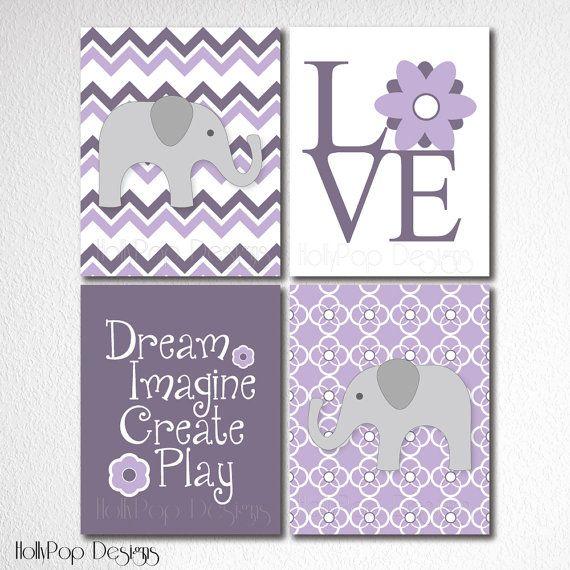 Nursery Wall Decor-Childrens Room Decor-Set of 4 Prints-Purple Nursery-Elephant Art Prints-Decor for girls-Chevron-LOVE Typography