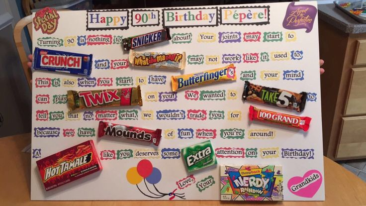 Candy Bar Poster for Pepere (Grandparent) 90th birthday!