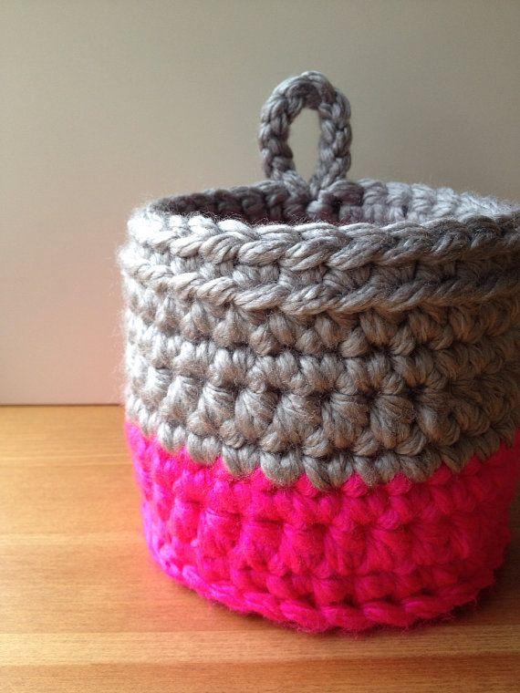 Neon Color Block Crochet Basket Small Storage Planter Pink Gray