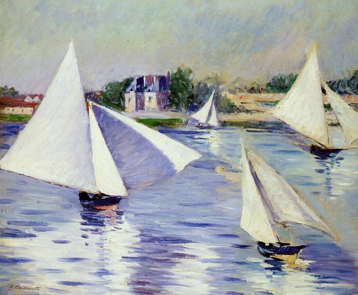 Gustave Caillebotte, Sailboats on the Seine at Argenteuil (1892), oil on canvas, Private collection. WikiArt.