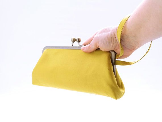 Yellow and Lavender bridesmaid gift clutch, bright yellow silk wristlet, yellow themed prom, chic rustic summer wedding, 50s vintage, prom