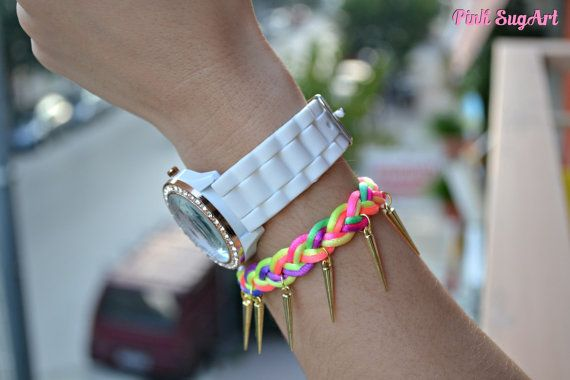 Gold Spikes and Neon Colorful Satin Cord Braided by PinkSugArt, €6.91
