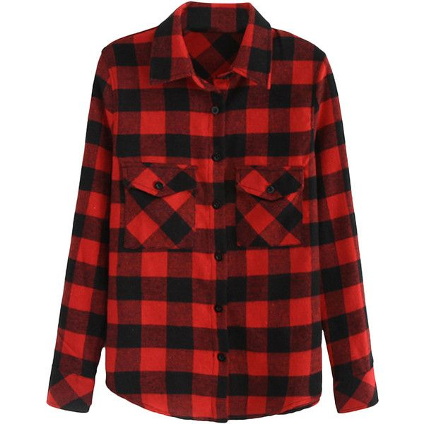 Blackfive Red Plaid Long Sleeved Shirt (120 BRL) ❤ liked on Polyvore featuring tops, shirts, flannels, blouses, plaid, long plaid shirt, long sleeve shirts, plaid flannel shirt, collared shirt and red top
