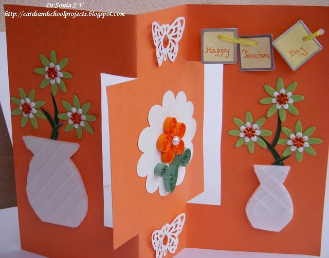 Cards ,Crafts ,Kids Projects: Teachers Day Card- Recycled Thermocol Swinging Card