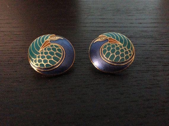 Laurel Burch/  Mynah Bird/  Vintage Earrings on Etsy, $30.00