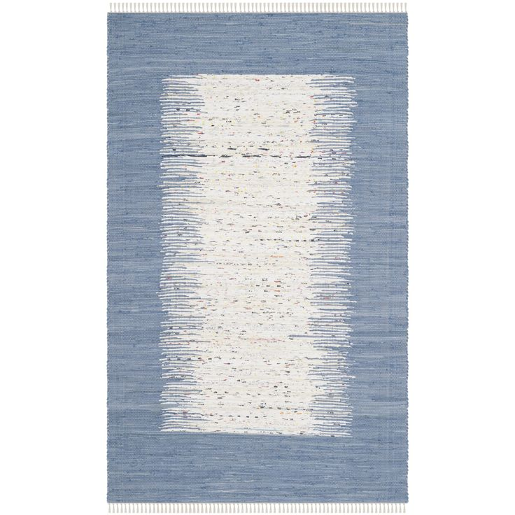Safavieh Montauk Collection MTK711E Handmade Ivory And Dark Blue Cotton Area Rug 5 Feet By