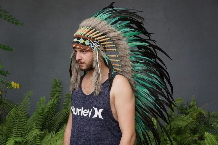 Indian Chief, Native American Headdress, Hat Feather Turquoise Warbonnet Costume #Handmade #Headwear #Festival