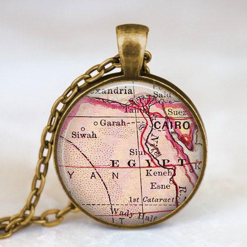 Egypt vintage map necklace,Egypt map pendant, Egypt  map jewelry , Egypt cairo map pendant jewelry  , art pendants, traveller gift