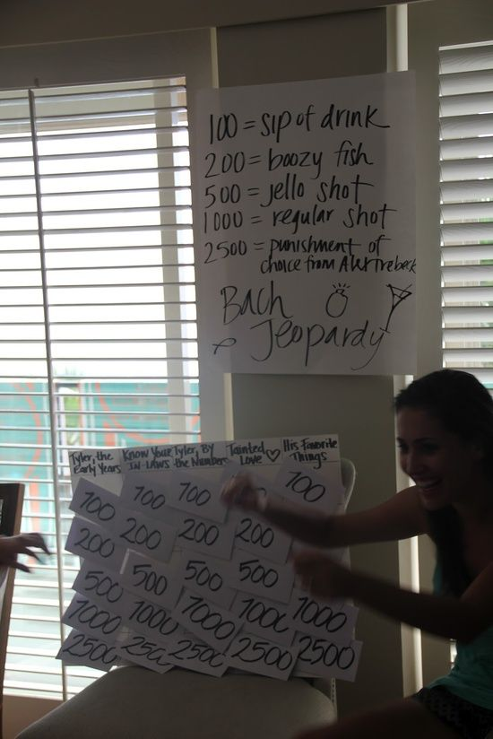 Bachelorette Jeopardy. Maybe afterward with the boys? Or at the reception as an interactive component? Questions about Bill and Katie? Maybe just jello shots or mini favors? And A LOT shorter?