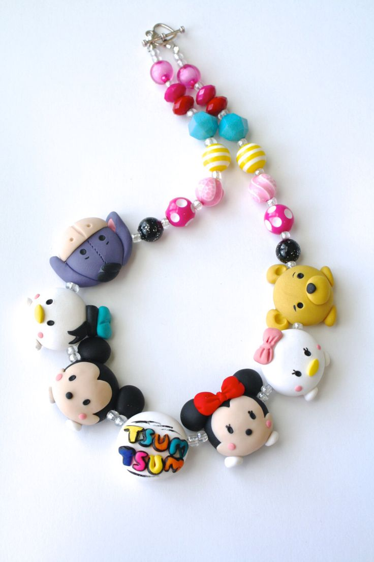 Tsum Tsum inspired necklace - statement necklace  - polymer clay - acrylic beads - kids jewelry - necklace by Sweet blossoms - keepsake by SweetBlossomsShop on Etsy https://www.etsy.com/listing/242417669/tsum-tsum-inspired-necklace-statement